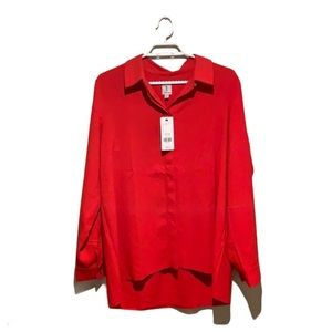 🆕 Tristan Red Oversized Blouse - Women's Large